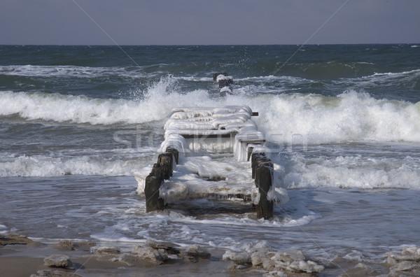 Mer baltique hiver rive Pologne paysage vagues Photo stock © janhetman
