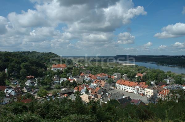 Ville vallée rivière banque Pologne eau Photo stock © janhetman