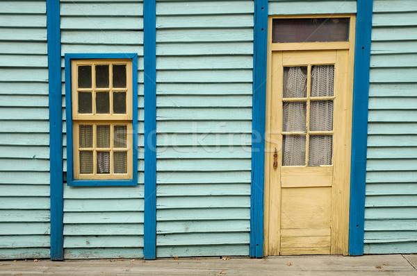 Bois mur fenêtre porte bleu texture Photo stock © janhetman