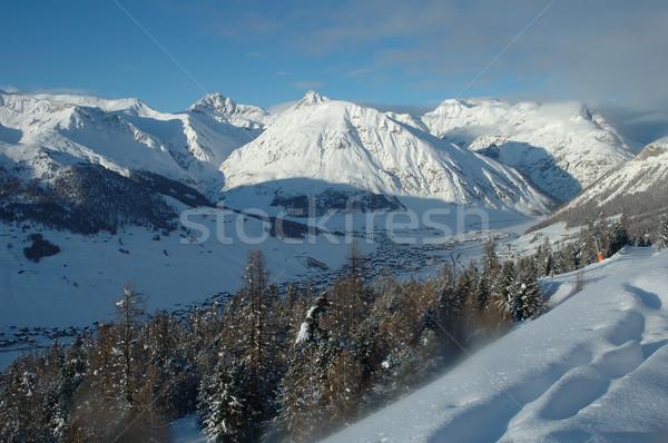 Photo stock: Alpes · Italie · ville · vallée · hiver · ciel