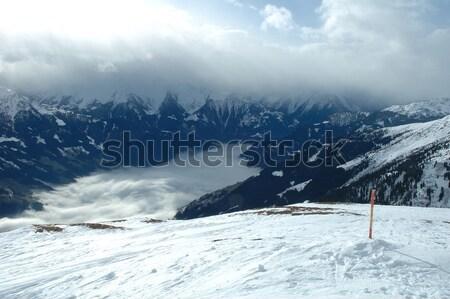 Photo stock: Vallée · alpes · hiver · couvert · nuages · vue