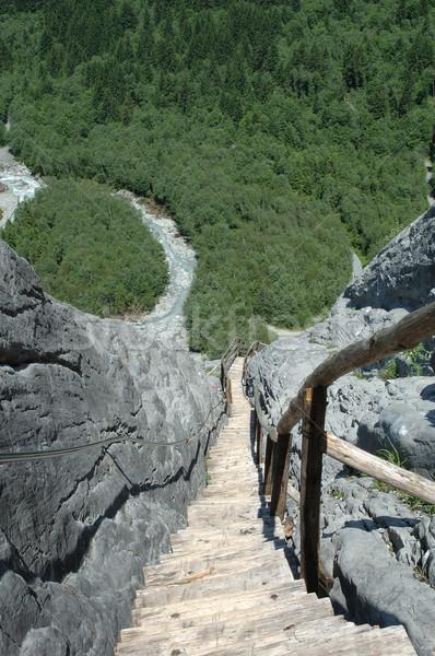 Merdiven iz ahşap su orman dağlar Stok fotoğraf © janhetman