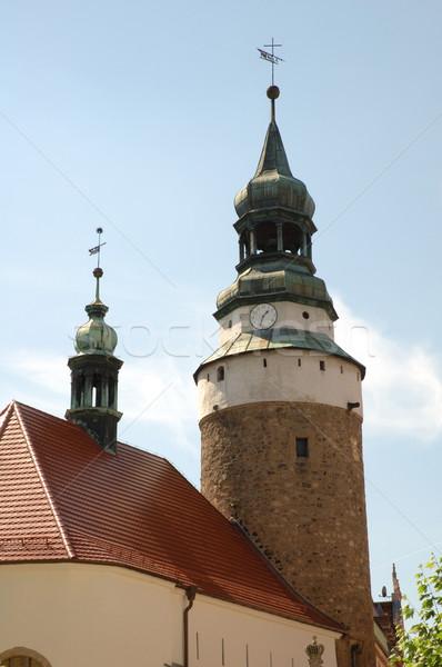 Vieux église ville Pologne bâtiment bleu Photo stock © janhetman