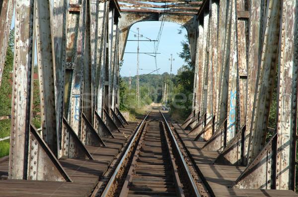 Photo stock: Vieux · chemin · de · fer · ville · Pologne · bois · construction