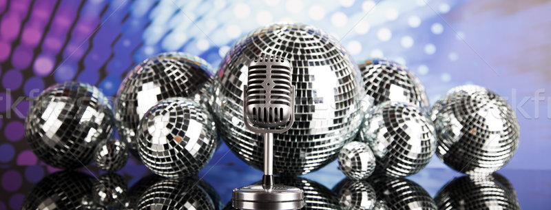 Retro style microphone, Music background Stock photo © JanPietruszka