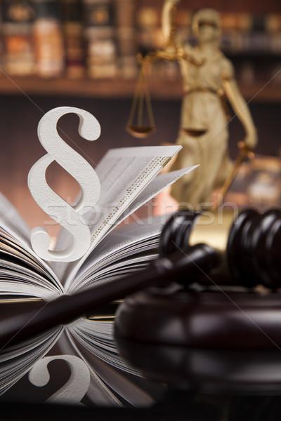 Droit livres paragraphe justice tribunal marteau Photo stock © JanPietruszka