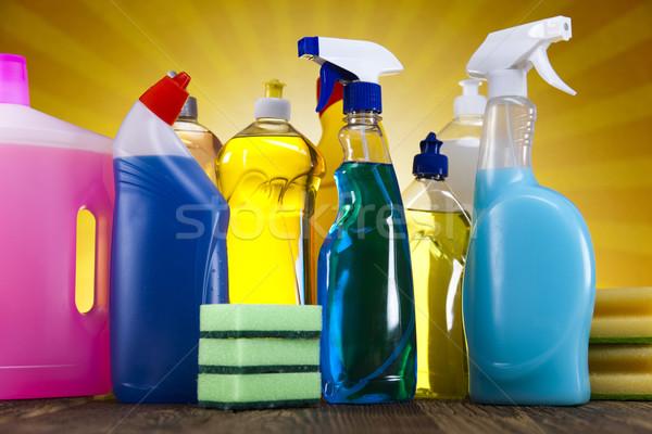 Takarítószerek napsütés munka otthon üveg szolgáltatás Stock fotó © JanPietruszka