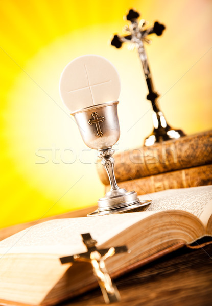 Holy Communion Bread, Wine, bright background, saturated concept Stock photo © JanPietruszka