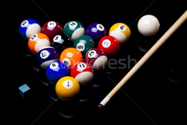 Medence golyók élénk színek természetes sport Stock fotó © JanPietruszka