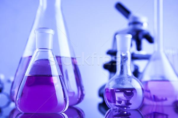 Nauki chemicznych laboratorium wyroby szklane zdrowia niebieski Zdjęcia stock © JanPietruszka