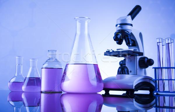 Chemia nauki laboratorium wyroby szklane zdrowia niebieski Zdjęcia stock © JanPietruszka