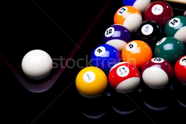 Medence játék golyók zöld sport jókedv Stock fotó © JanPietruszka