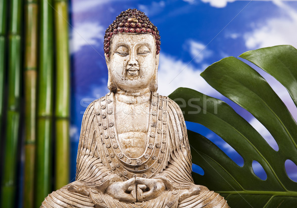 Natürmort Buda heykel bambu güneş duman Stok fotoğraf © JanPietruszka