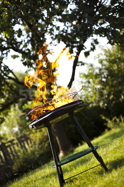 Parrilla llama caliente ardor pared casa Foto stock © JanPietruszka