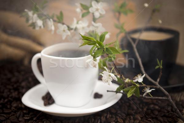 Geleneksel kahve fincanı fasulye doku gıda çerçeve Stok fotoğraf © JanPietruszka