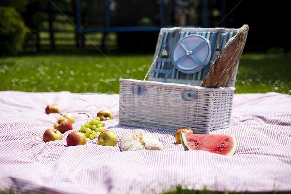 Piknik sepeti meyve ekmek şarap bahar çim Stok fotoğraf © JanPietruszka