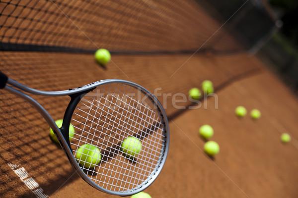 Sport teniszütő golyók háttér sportok Föld Stock fotó © JanPietruszka