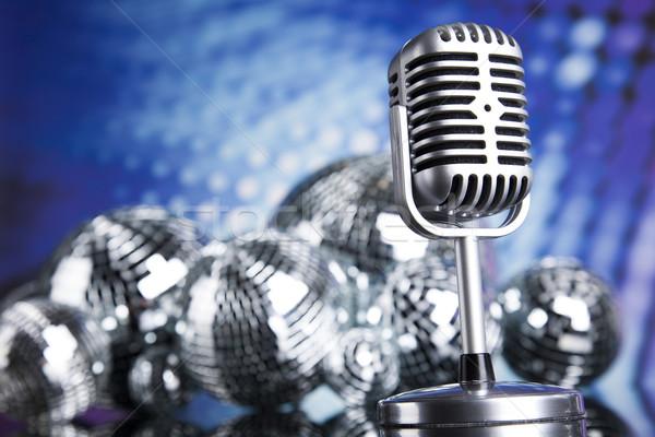 Foto stock: Discoball · microfone · música · estilo · retro · soar · ondas