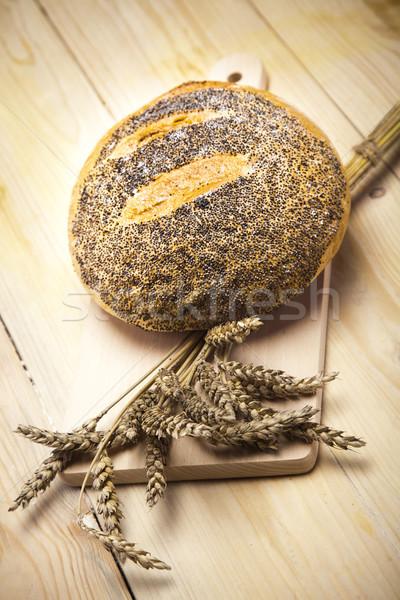 Bioélelmiszer kenyér vidéki háttér vacsora tojások Stock fotó © JanPietruszka