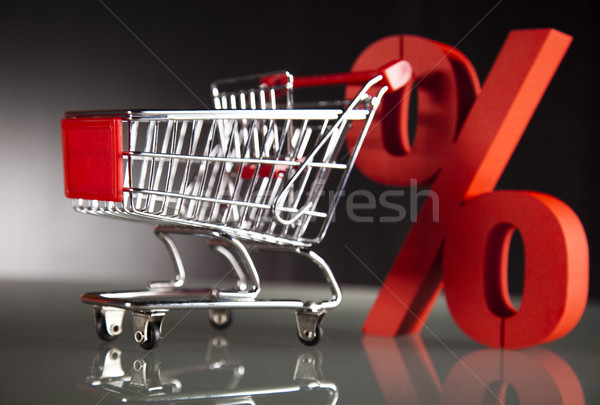 Shopping supermarket cart, percent sign Stock photo © JanPietruszka
