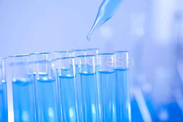 Foto stock: Prueba · primer · plano · laboratorio · medicina · azul