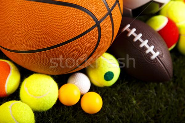 Grupy sprzęt sportowy naturalnych kolorowy sportu piłka nożna Zdjęcia stock © JanPietruszka