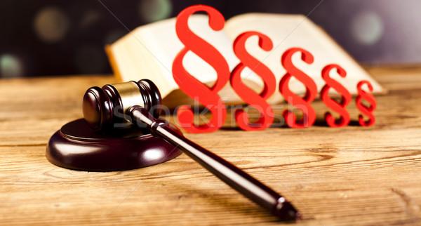 Juiz gabela parágrafo assinar símbolo madeira Foto stock © JanPietruszka