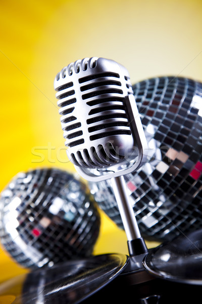 Microphone, vinyl record and Disco Balls, music saturated concept Stock photo © JanPietruszka