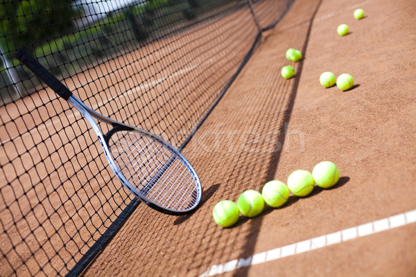 Raquette de tennis tribunal fond sport terre Photo stock © JanPietruszka