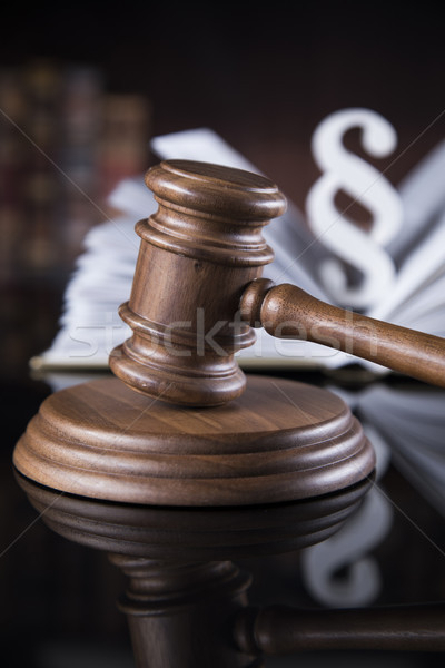 Book, law theme, mallet of judge, wooden gavel Stock photo © JanPietruszka