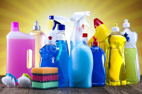 Produits de nettoyage soleil travaux maison bouteille Ouvrir la Photo stock © JanPietruszka