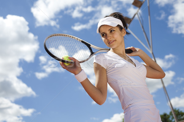 Tennis player, natural colorful tone Stock photo © JanPietruszka