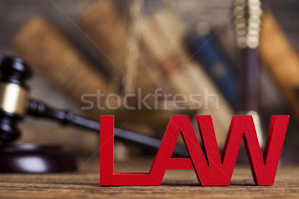 Judge gavel,Law concept, wooden desk background Stock photo © JanPietruszka