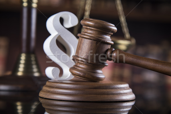 Mallet, Law, legal code and scales of justice concept and paragr Stock photo © JanPietruszka