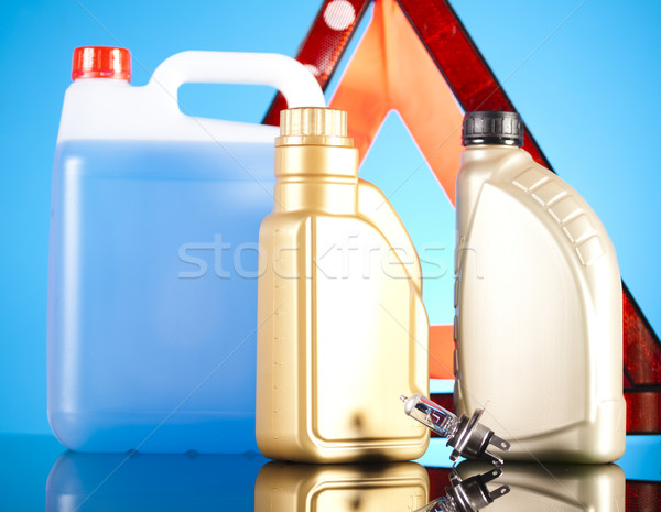 Canisters, Liquids for car on vivid moto concept Stock photo © JanPietruszka