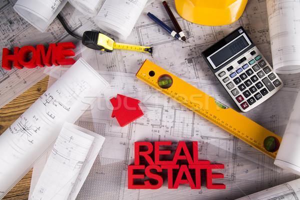 Gayrimenkul ajans planları ev model iş Stok fotoğraf © JanPietruszka