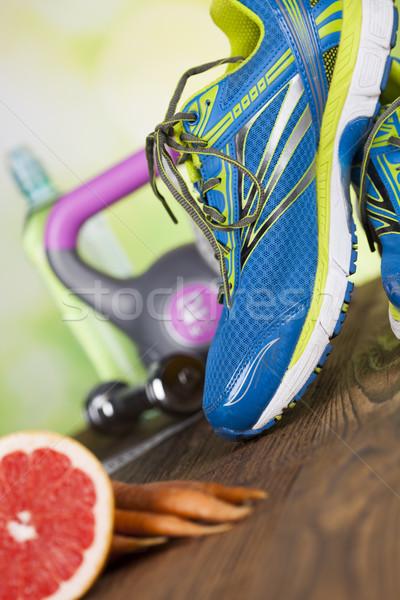 Taze gıda ölçmek diyet uygunluk spor Stok fotoğraf © JanPietruszka