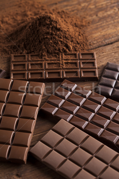 Stock photo: Chocolate sweet, cocoa pod and food dessert background