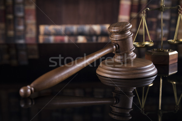 Judges wooden gavel, on mirror reflection background Stock photo © JanPietruszka