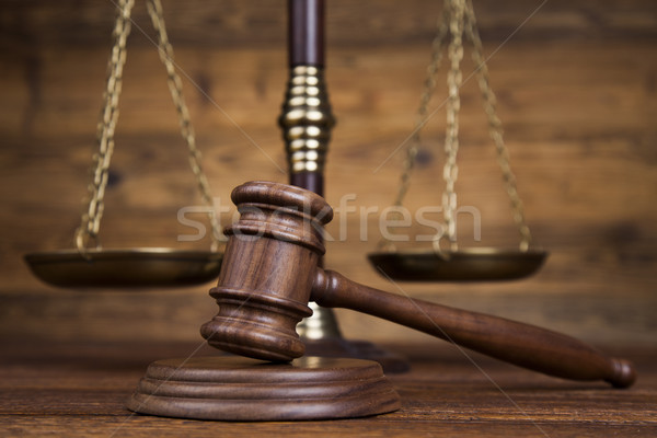Mallet of the judge, justice scale, wooden desk background Stock photo © JanPietruszka
