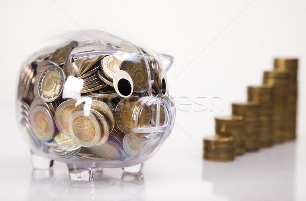 Сток-фото: бизнеса · свинья · банка · деньги · монеты · окна