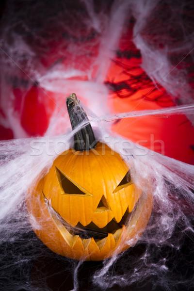 Cadılar bayramı kabak örümcek ağı gözler arka plan turuncu uzay Stok fotoğraf © JanPietruszka