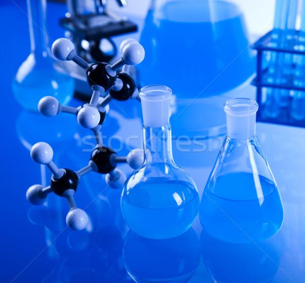 化学 室 ガラス製品 技術 ガラス 青 ストックフォト © JanPietruszka