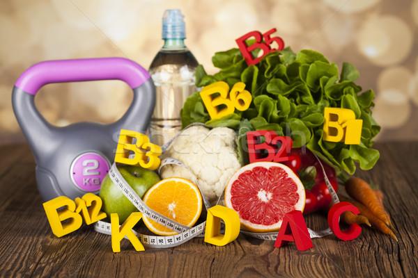 Fitness vitamina fruta fresca vegetales salud deporte Foto stock © JanPietruszka