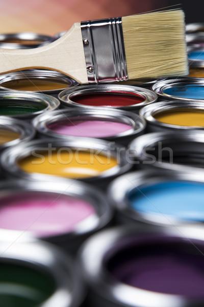Farbenreich malen Pinsel tin hellen Palette Stock foto © JanPietruszka