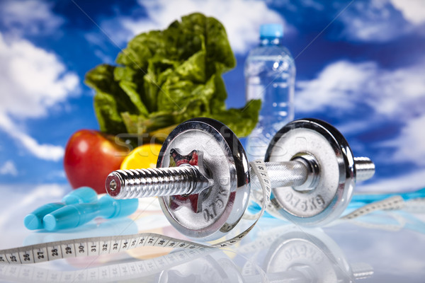 Fitnessz étel kék ég sport energia kövér Stock fotó © JanPietruszka