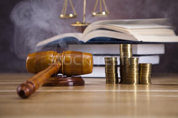 Recht justitie houten hamer hout hamer Stockfoto © JanPietruszka