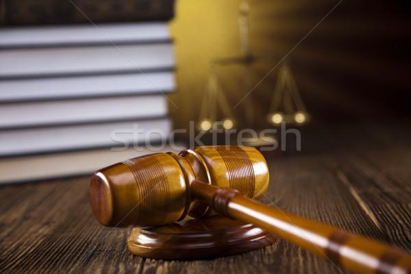 Houten hamer advocaat rechter rechter object Stockfoto © JanPietruszka