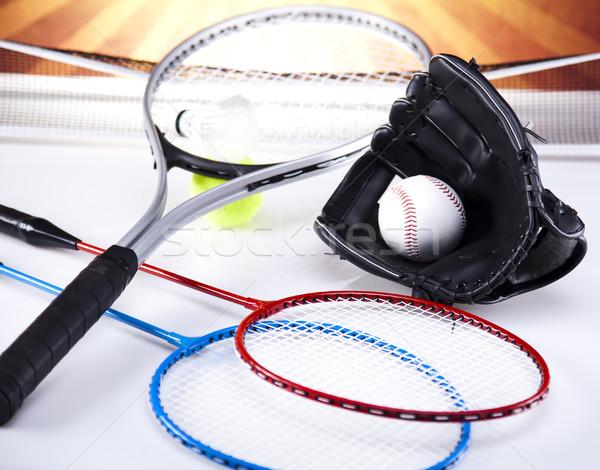 Racket zomer leuk veer bal spelen Stockfoto © JanPietruszka
