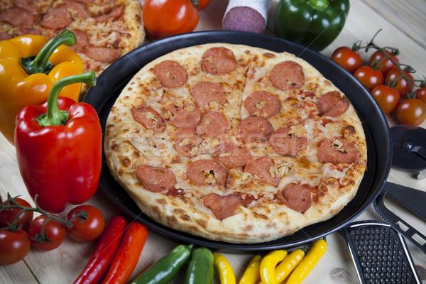 Forró pizza ízletes természetes étel levél Stock fotó © JanPietruszka